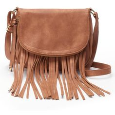 Apt. 9® Ava Fringed Crossbody Bag ($29) ❤ liked on Polyvore featuring bags, handbags, shoulder bags, accessories, brown, purses, purses/bags, purse shoulder bag, crossbody purse and purses crossbody