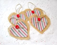 Hey, I found this really awesome Etsy listing at https://www.etsy.com/listing/203167012/4-burlap-heart-christmas-ornaments