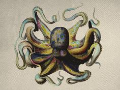 Vintage Style Octopus Color Graphic Iron On Tote Bag Pillow Sheet Burlap Transfer  Graphic Digital Download No. C08. $0.99, via Etsy.