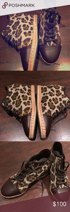 Leopard & leather espadrilles THEORY🔹38.5 (best fits an 8-8.5)🔹 chocolate brown & nude/brown scale colors.. leopard print with chocolate brown leather🔹 hidden heel/platform🔹 these are AMAZING, also very unique and a rare find!!! Excellent condition, worn under a handful of times! Reasonable offers accepted! Same day shipping on all of my items ❤🙏🏼❤☄️ Theory Shoes Espadrilles