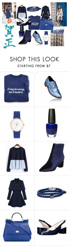 """navyblueiseverything"" by melisaa95 on Polyvore featuring moda, OPI, WithChic, Steven by Steve Madden, Phillip Gavriel, Dolce&Gabbana i L.K.Bennett"