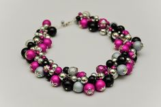 Pink, black, grey, silver statement necklace