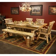 Rustic Pine Slab Massive Log Dining Table with Bench Set