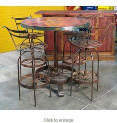 Wagon Wheel Bar Table and 4 Stools                                                                                                                                                     More