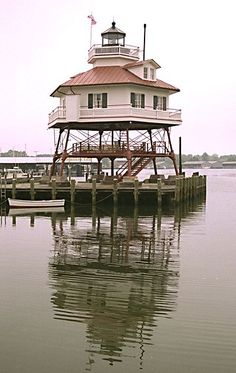 Drum Point Lighthouse, Solomon's Island, Maryland. Style of lighthouse is known as screw-pile