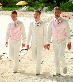 linen suits for men beach wedding | or My groom to be in vest and the groomsmen without vests