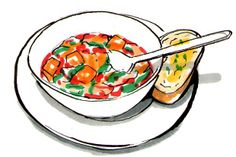 Sweet potato, red onion, spinach and orange soup via The Times