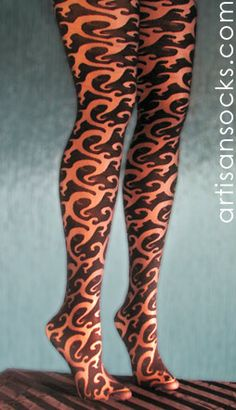 Tattoo Patterned Tights with Black Swirl Design