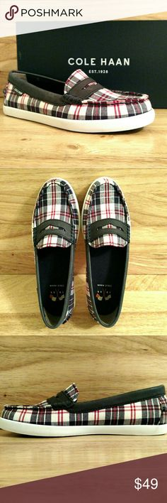 COLE HAAN Nantucket Slip On Loafer Size 5 B Novelty textile upper loafer with penny keeper detail. Fully lined. Full padded sock lining. Full rubber outsole. Flexible. Cushioned. Breathable. Lightweight. A thoroughly modern operating system for your feet. Cole Haan Shoes Flats & Loafers