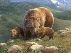 """Mountain Mama"" Bonnie Marris Grizzly Bear Fine Art Giclee Canvas #Realism"