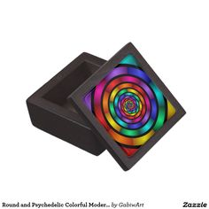 Round and Psychedelic Colorful Modern Fractal Art Keepsake Box