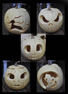 It's a tradition in my house that on Halloween we carve as many pumpkins as possible. All the white pumpkins we have, we carve into characters from Nightmare Before Christmas. Fröhliches Halloween, Holidays Halloween, Halloween Pumpkins, Halloween Decorations, Zombie Pumpkins, Halloween Painting, Halloween Table, Christmas Holidays, Xmas