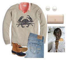 """""""Crab sweater"""" by hayley-tennis ❤ liked on Polyvore featuring J.Crew, Abercrombie & Fitch, L.L.Bean, Reeds Jewelers and Tory Burch"""