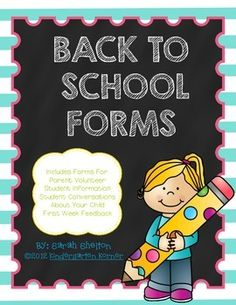 A great pack to get you ready for Back to School. Forms included are: Parent/Teacher Conversations Student Conversations Volunteer Form Student Information My First Week Form  **Some of these forms are better for Kindergarten, but others are general so use what works for you!