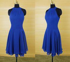 Royal Blue Chiffon Prom Dress,Short Prom Dress,Homecoming Dress