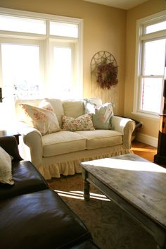 Custom Slipcovers by Shelley: Cream Linen Loveseat and Chair