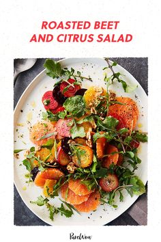 When the weather is gray and chilly, eating greens sometimes feels like a punishment. Not this roasted beet and citrus salad, though. It's from the new cookbook Food: What the Heck Should I Cook? by Mark Hyman, M.D., and it makes us feel like a million bucks. Best Side Dishes, Side Dish Recipes, Burrata Salad, Warm Salad, Roasted Beets, New Cookbooks, Healthy Salad Recipes, Food Dishes, Italian Recipes