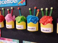 Cute Cupcake birthday bulletin board display for Kindergarten or Preschool Classroom Cute Bulletin Boards, Birthday Bulletin Boards, Preschool Birthday Board, Colorful Bulletin Boards, Classroom Organisation, Preschool Classroom, Future Classroom, Classroom Board, Classroom Wall Decor