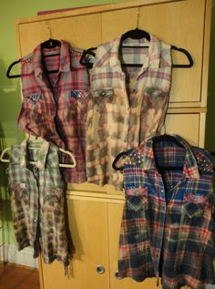 Sew Men Clothes Playing with fall looks- upcycled flannel shirts for Stubborn Jeans. Umgestaltete Shirts, Bleach Shirts, Flannel Shirts, Shirt Refashion, Diy Shirt, Shirt Men, Diy Clothing, Cowgirl Clothing, Recycled Clothing