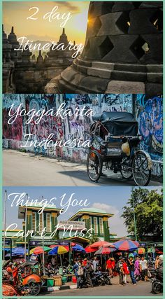 2 Day itinerary for Yogyakarta, Indonesia. Things You Can't Miss. While we realize there are many things you can do in Yogyakarta on a longer visit, we wanted to share with you how we filled our two days and what we recommend that you add to your itinerary if you are planning your own visit to this cool city. Click to read the full Travel Blog Post at http://www.divergenttravelers.com/yogyakarta-things-to-do/