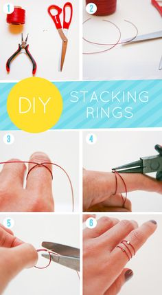 DIY stacking rings tutorial by The Lovely Dept.  http://www.thelovelydept.com/2012/03/diy-silk-stacking-rings/#