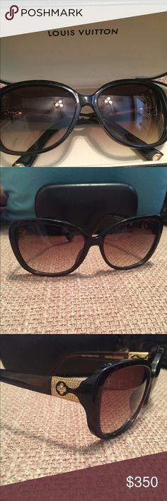 Louis Vuitton brown glitter sunglasses Louis Vuitton brown glitter sunglasses. These glasses have been kept in their case and worn only a handful of times. In great condition Louis Vuitton Accessories Sunglasses
