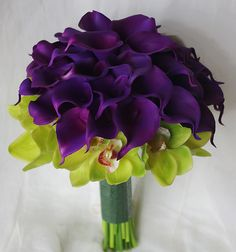 purple calla lilies and green orchids