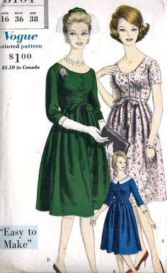 1960s Misses One Piece Maternity Dress