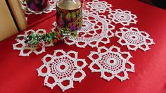 Set of Crochet White Cotton Doilies Coaster  Lace by MaddaKnits