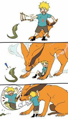 Naruto, childhood, Bijuu, Jinchuuriki, Kurama, Kyuubi, cute, snake, funny, comic; Naruto