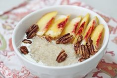 Turn your oats into a Southern favorite with sliced fresh peaches, heavy cream and toasted pecans.