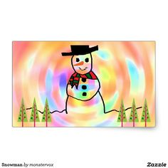 Snowman Rectangular Sticker #Snowman #Snow #Snowflake #Winter #Holiday #Christmas #Merry #Xmas #Trees #Sticker