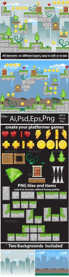 Game Tile Set Ornaments  - Tilesets Game Assets