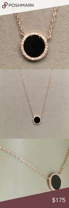 "14k Rose gold necklace 1/3ctw diam. cut sapp/onyx Rose gold necklace with one third CTW diamond cut sapphire and onyx pendant. 15"" w/3"" extension. Jewelry Necklaces"
