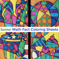 Summer math fact coloring sheets for kids to review their math while enjoying some relaxing coloring at the end of the year or through summer school. Included are 4 designs for addition up to 20, subtraction from 25, multiplication and division reviewing all the 2s-9s.