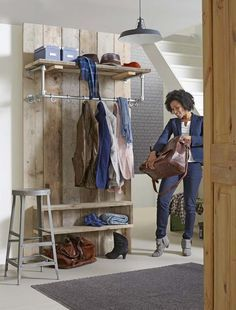walk in wardrobe idea with scaffolding boards Entry Hallway, Walk In Wardrobe, First Home, Storage Shelves, Home And Living, Diy Furniture, Sweet Home, New Homes, House Design