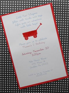 Little red wagon invite by cardsbypamela on Etsy, $26.00