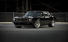 Download wallpapers Chevrolet Camaro, 1967, black coupe, retro cars, classic cars, GA3, Forgeline Wheels, Chevrolet