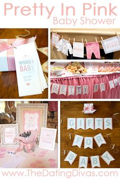 Everything needed to pull off a gorgeous 'Pretty In Pink' Baby Shower! www.TheDatingDivas.com