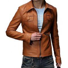 Custom Made Men Fashion Slim Leather Jacket