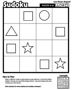 Sudoku printable Logic and Reasoning skills mathematik Visual Thinking, Sudoku Puzzles, Elementary Education, Free Coloring Pages, Preschool Activities, Printables, Teaching, School School, Occupational Therapy