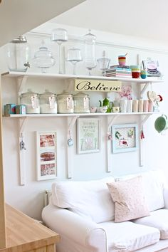 White Kitchen & Open Shelves. Glass storage jars.  This would work for flour, sugar, etc storage and decorative items - maybe if space allows on wall for baking (lower cabinets but no uppers?)