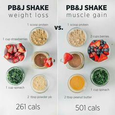 "protein shake to gain muscle Weight loss vs. 🥤 Swipe to see 2 more! Which combo is your fav? I often get asked ""is a protein shake… Healthy Smoothies, Healthy Drinks, Healthy Snacks, Healthy Eating, Healthy Recipes, Healthy Protein, Detox Drinks, Healthy Cereal, Weight Gain Meals"