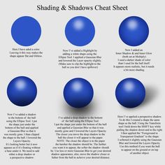 Digital Drawing Cheat Sheets (from this site: http://justcreationstutorials.blogspot.nl/2011/10/cheat-sheets-shadingshadows-highlights.html  )