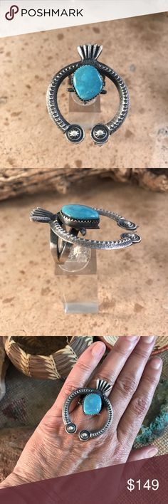 Kevin Billah Turquoise & Sterling Naja Ring Sz 6 This is an authentic Navajo Naja ring made from Turquoise & Sterling Silver. It is signed by the Navajo artist Kevin Billah and stamped Sterling. This piece is 2 inches long and 1 1/2 inches wide. Size 6 Jewelry Rings