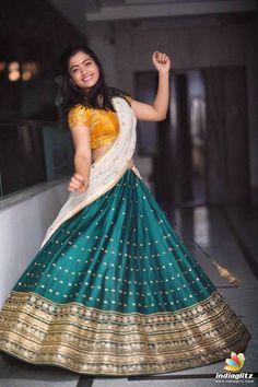 Tollywood Actress Rashmika Mandanna Traditional Half Saree Stills Beautiful Girl Photo, Beautiful Girl Indian, Most Beautiful Indian Actress, Beautiful Saree, Saree Poses, Half Saree Designs, Blouse Designs, Saree Photoshoot, Indian Bridal Fashion