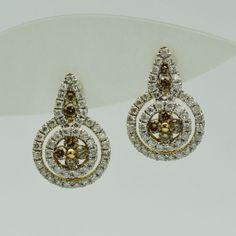 Cercei aur galben cu diamante brown si albe