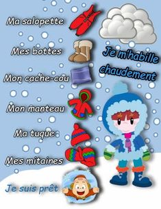 Habillement hiver Preschool Class, Kindergarten, Preschool Activities, Preschool Learning, Sight Words, Christian Morgenstern, French Songs, French Kids, Outdoor Learning
