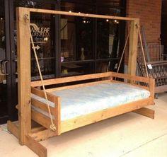 Pallet Swing Beds, Diy Swing, Patio Swing, Porch Swings, Outdoor Bed Swings, Outdoor Camping, Pallet Patio Furniture, Diy Furniture, Garden Furniture