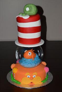 dr. seuss stacked books cake | Dr. Seuss